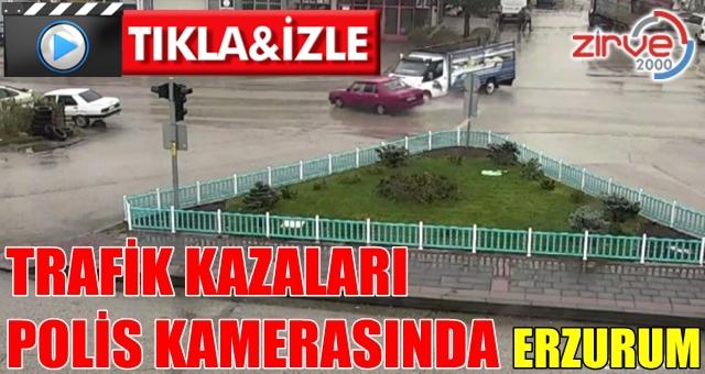 Erzurum'daki kaza polis kamerasında
