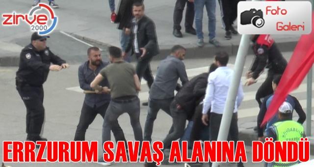 Erzurum'da bıçaklar havada uçuştu