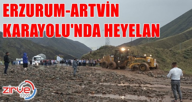 Erzurum – Artvin karayolunda heyelan